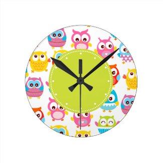 Horloge murale ronde, Jolis petits hiboux