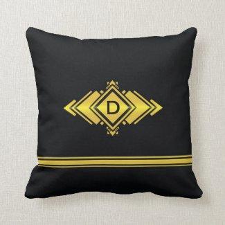 Coussin classique noir et or avec monogramme